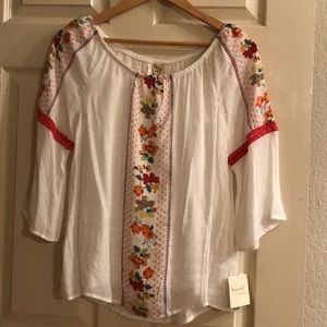 Fig and flower boho blouse. Petite Medium. New